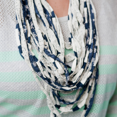 Upcylced noodle t-shirt scarf {navy/white}