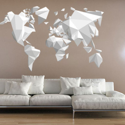 origami world map wall sticker decal