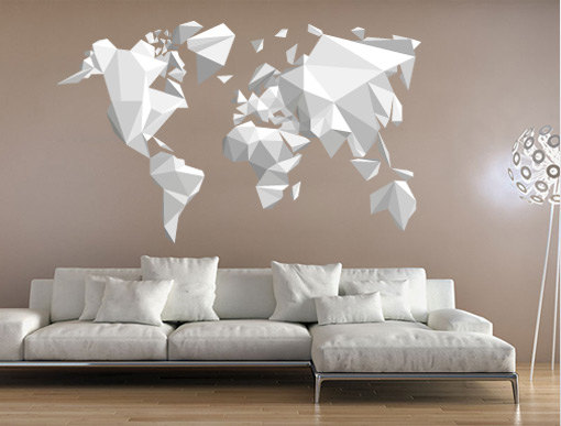 Origami world map wall sticker decal moonwallstickers online origami world map wall sticker decal gumiabroncs Images