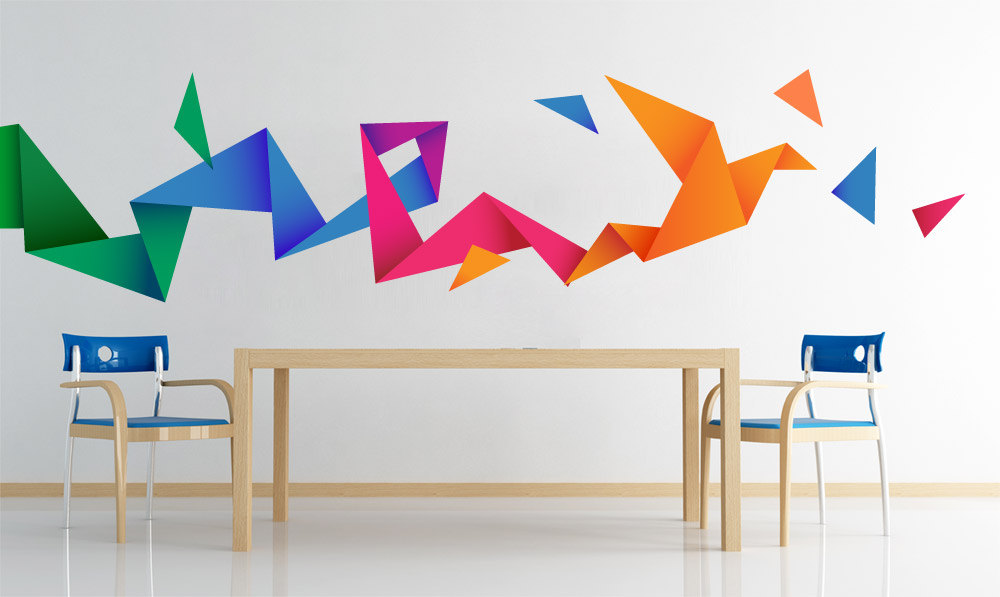 Origami Bird Wall Decal Sticker Vinyl Moonwallstickers