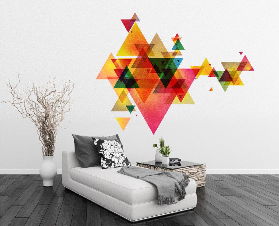 geometric triangles vinyl decal wall art mid century. Black Bedroom Furniture Sets. Home Design Ideas