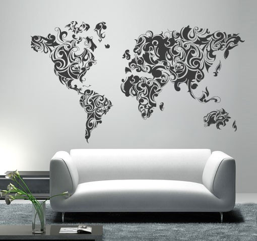 World Map Tribal Floral Vinyl Home Decor Moonwallstickers Com