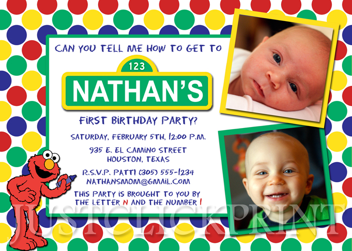 Sesame Street Elmo Birthday Invitation Printable Just Click – Sesame Street 1st Birthday Invitations