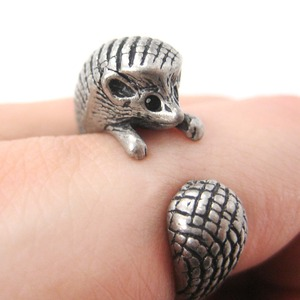 3D Realistic Hedgehog Animal Wrap Ring in Silver | US Sizes 4 to 9