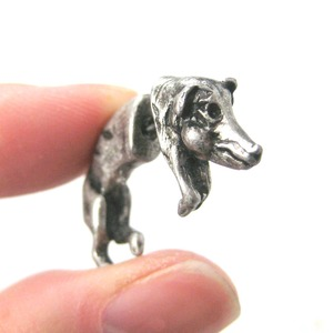 3D Fake Gauge Realistic Wild Boar Pig Animal Stud Earrings in Silver