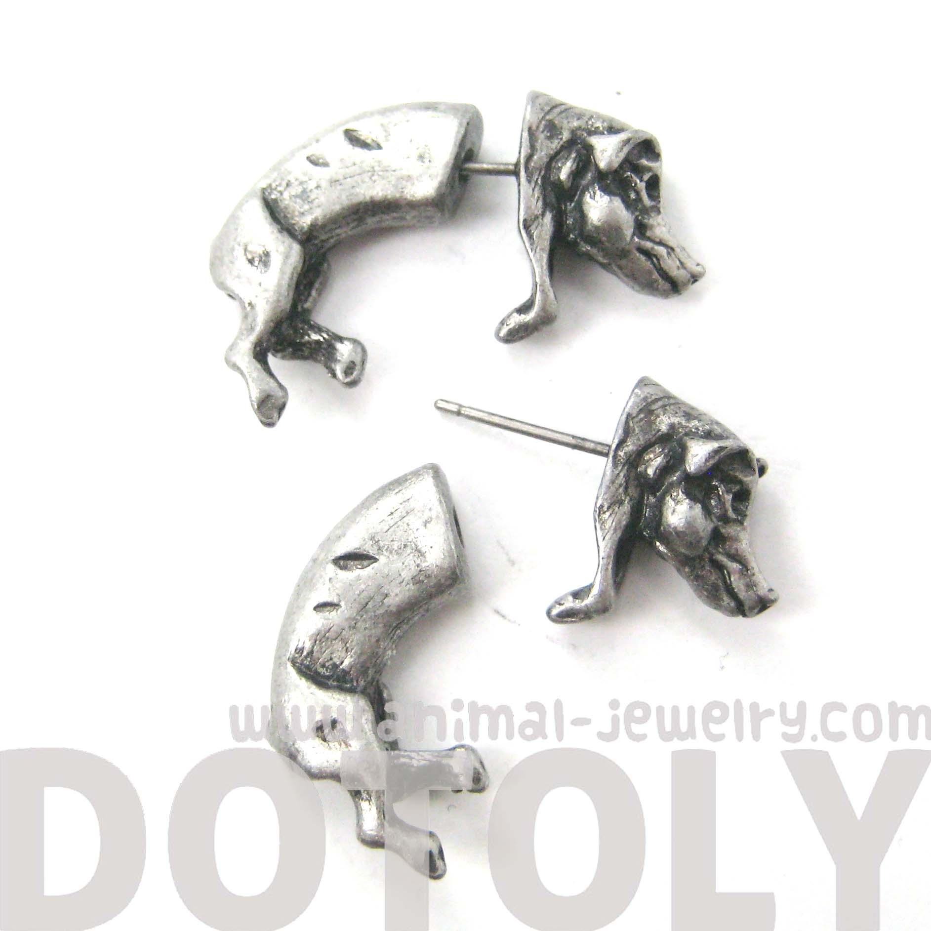 3d realistic boar pig animal stud earrings