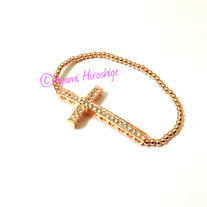 Rose Gold Sparkly Cross with Rose Gold Filled Beads
