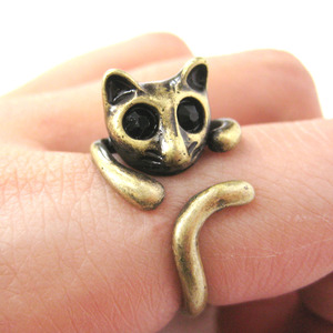 Kitty Cat Shaped Animal Wrap Around Ring in Bronze - Sizes 7 to 9 Available