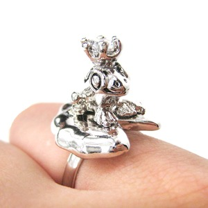 Adjustable Frog Prince and Lily Pad Animal Themed Ring in Shiny Silver