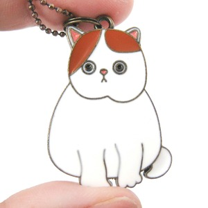 Cartoon Kitty Cat Animal Shaped Enamel Pendant Necklace