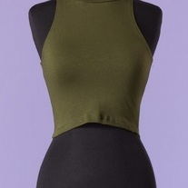 Olive Green Crop Turtleneck