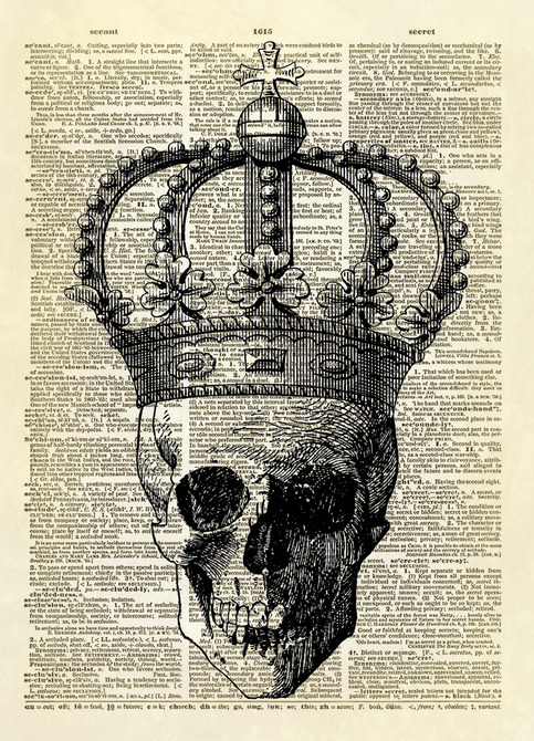 Skull with Royal Crown Dictionary Art Print No. 129 on ...