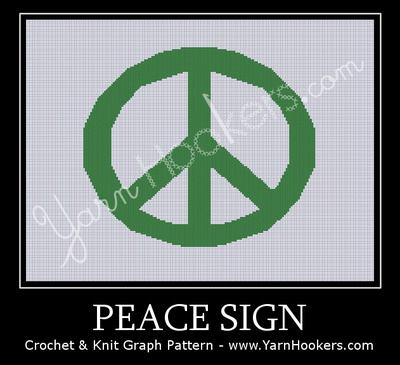 Peace Sign Afghan Crochet Graph Pattern Chart Yarn Hookers