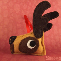 Reindeer Christmas Ornament, Felt Reindeer Ornament - Vixen the Reindeer