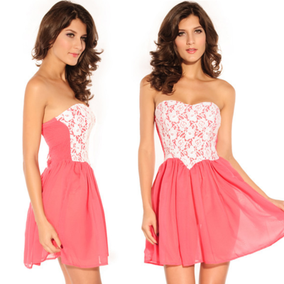 Lace chiffon summer skater dress small