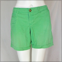 Green Low Rise Walking Shorts