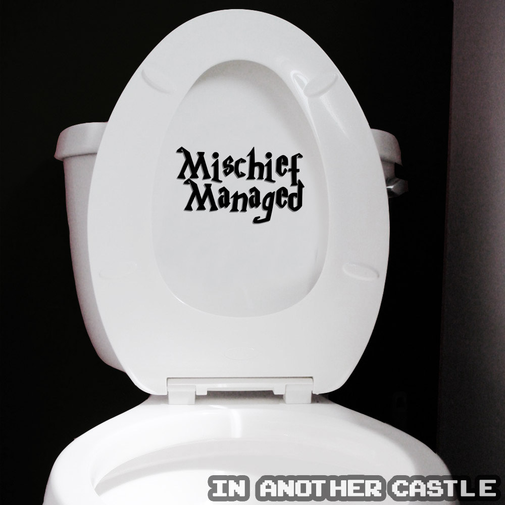 Mischief managed sticker funny harry potter decal for for Funny bathroom photos