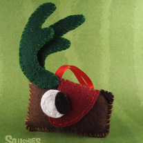 Felt Reindeer Ornament, Felt Christmas Ornament- Nog the Reindeer