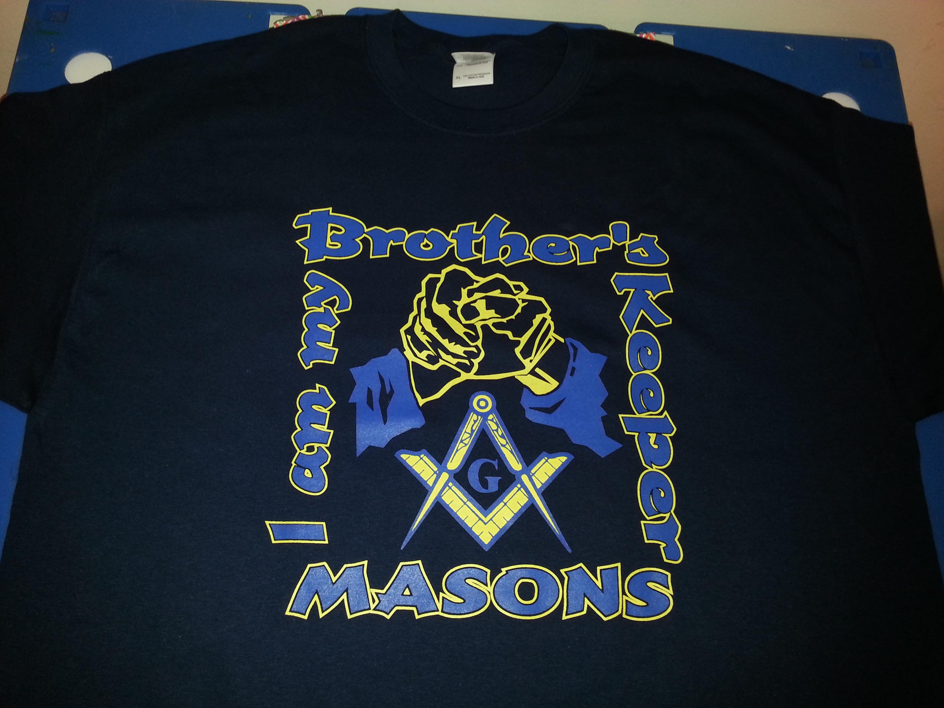 Masonic i am my brothers keeper navy t for Mason s men s shirts