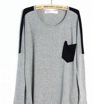 Loose Grey Contrast Color T-Shirt with Pocket