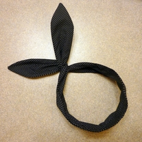 Black Polka Dot Bunny Headband