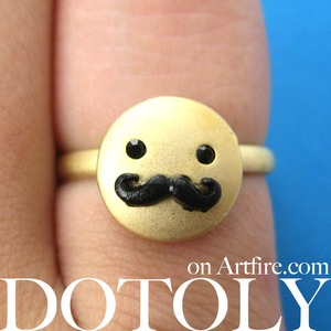 Adjustable Monopoly Man Mustache Moustache Ring in Gold ALLERGY FREE