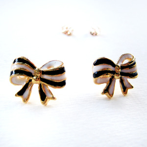 Black White and Gold Bow Tie Ribbon Stud Earrings