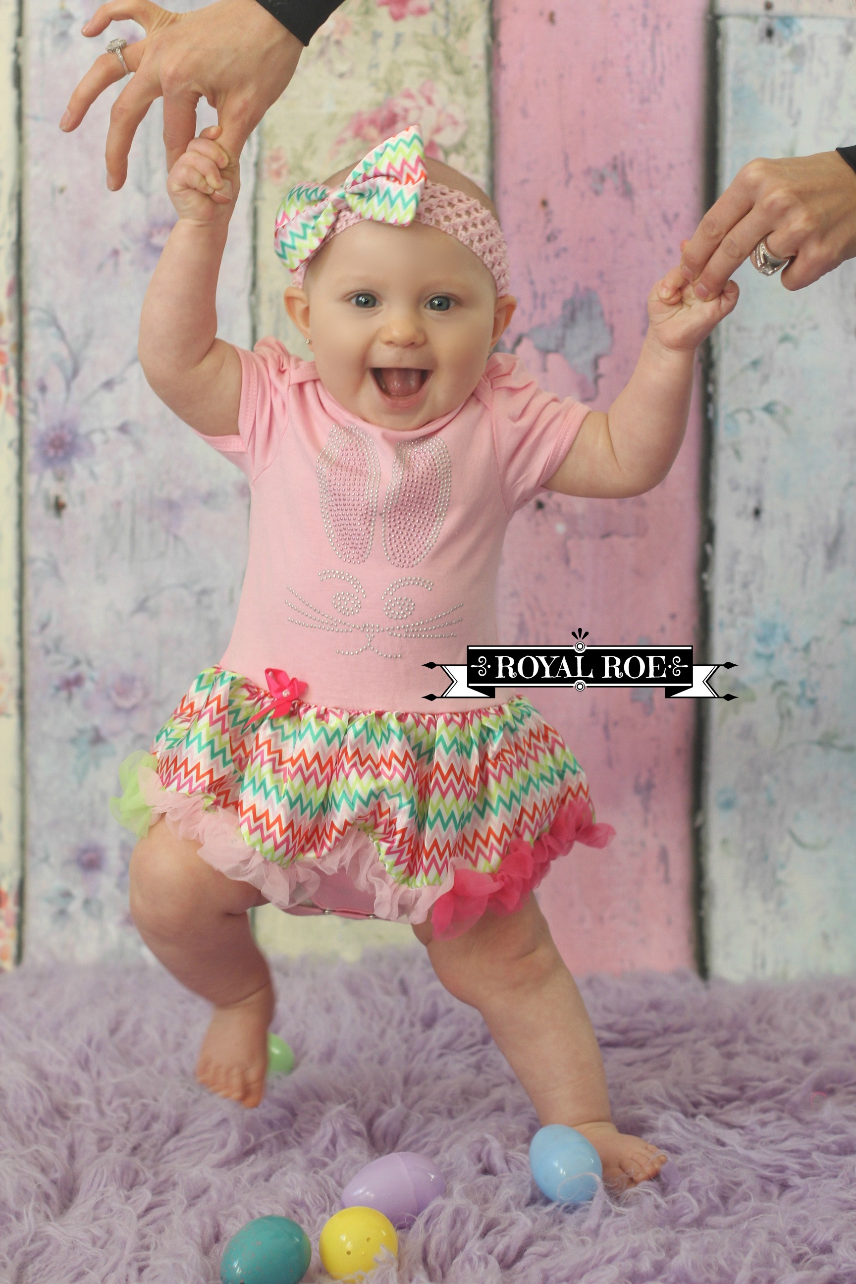 Baby Girl Easter Rhinestone Bunny Light Pink Chevron Tutu Dress