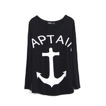 Black Anchor Print Loose T-shirt
