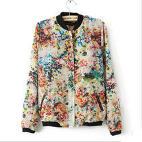 Floral print Jackets with Contrast Collar