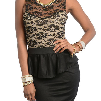 Sexy black lace peplum mini party dress