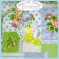 Pink & Yellow Trailing Ribbon Rocking Horse Heart