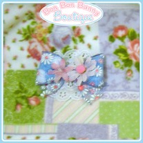 Blue & Pink Daisy Bow
