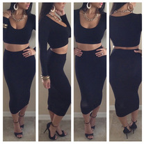 """Expression"" Black 2 Piece Bodycon Set"