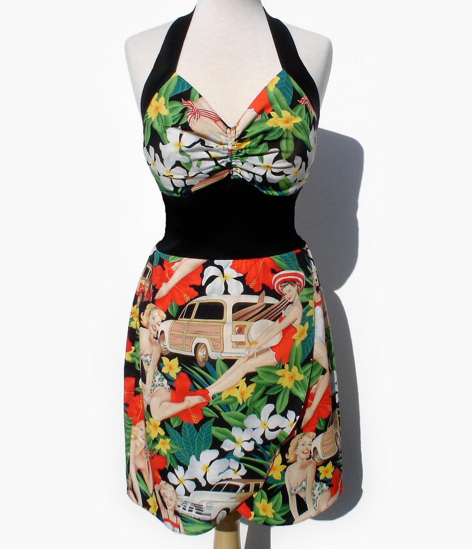 Rockabilly pinup Dress Hawaiian Flowers, Pin up Girls, Vintage Cars ...