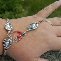 Silver with ruby crystals bracelet