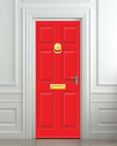 Door STICKER Gold Red Doors Mural Decole Film Self Adhesive Poster 30x79 Quot