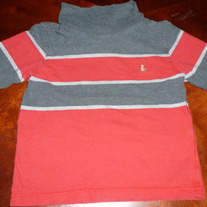 BABY GAP LONG SLEEVE GRAY/RED TURTLENECK-SIZE 2T
