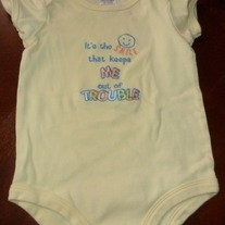 BABY ESSENTIALS YELLOW ONESIE-SIZE 9 MONTHS