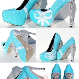 Tiffany blue glitter heels with swarovski crystals and pearls with tiffany blue glitter heels with swarovski crystals and pearls with matching clutch thumbnail 1 junglespirit Images