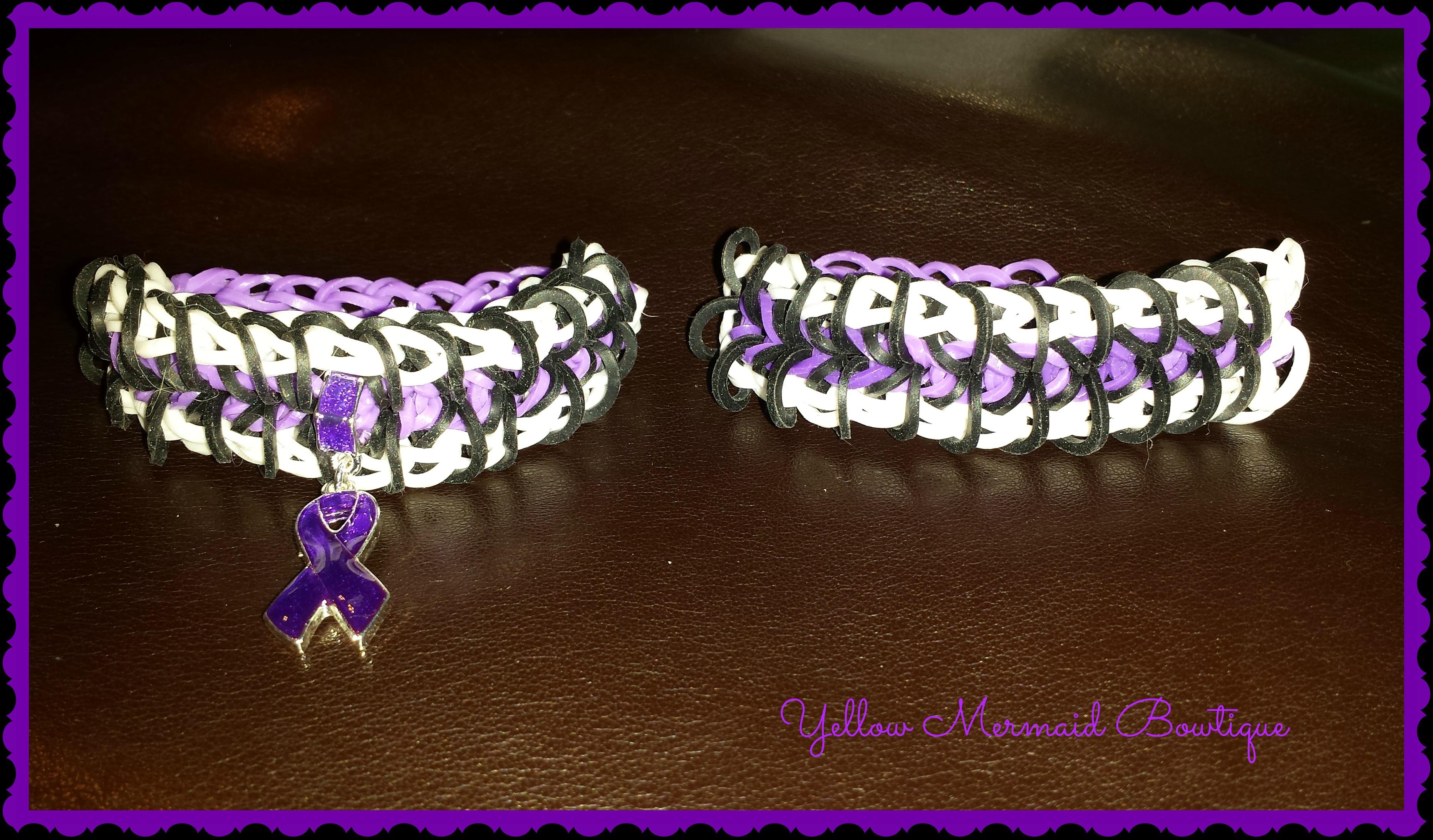 Chiari Awareness Zipper Loom Bracelet Purple and Black - Thumbnail 2