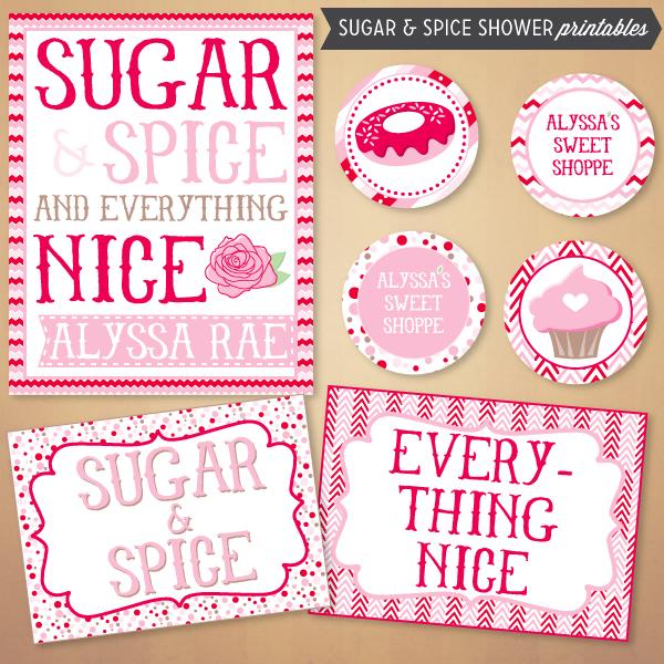 Charming Sugar U0026 Spice Baby Shower Printables