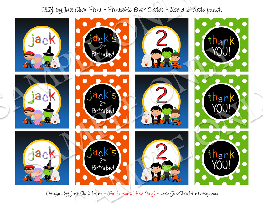 Halloween Birthday Costume Party Favor Tags Printable Uprint · Just ...