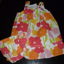 GIRLS FLOWER DRESS WITH BLOOMERS-LILYBIRD-SIZE 12 MONTHS