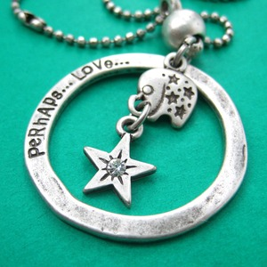 Elephant Animal Hoop Round Pendant Necklace in Silver with Star Detail
