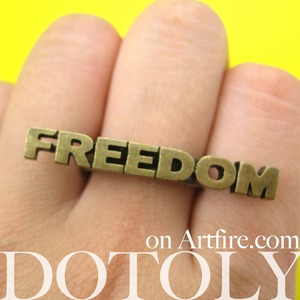Freedom Capital Letter Word Adjustable Ring in Bronze