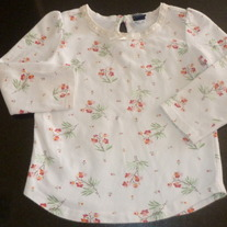 White LS Shirt with Pink/Red Flowers-Baby Gap Size 12-18 Months
