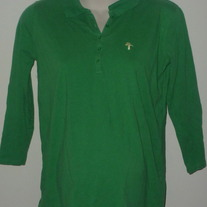 Green Top with Buttons/Collar-Motherhood Maternity Size Medium