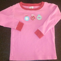 Pink Christmas Shirt-3 Ornaments-Baby Gap Size 18-24 Months
