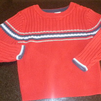 Red Sweater with Blue Stripe-Old Navy Size 2T